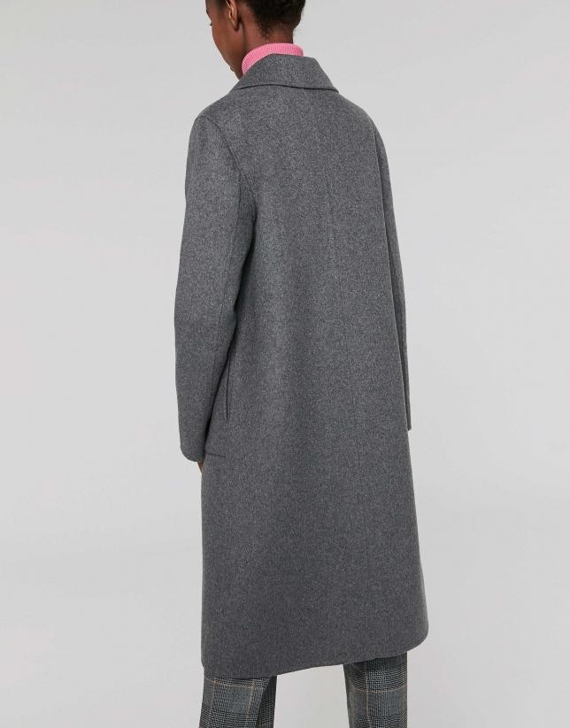 Abrigo cruzado doble faz gris