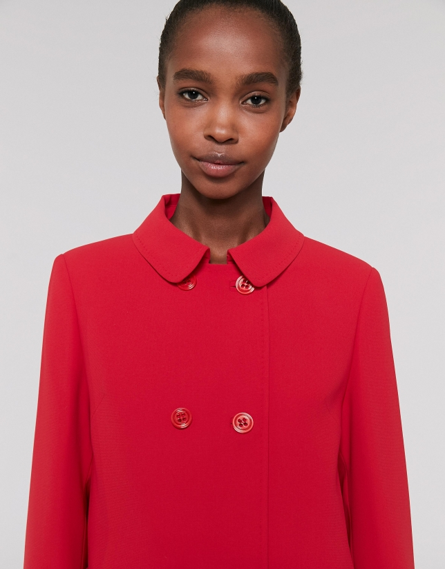Long red poppy chiffon coat