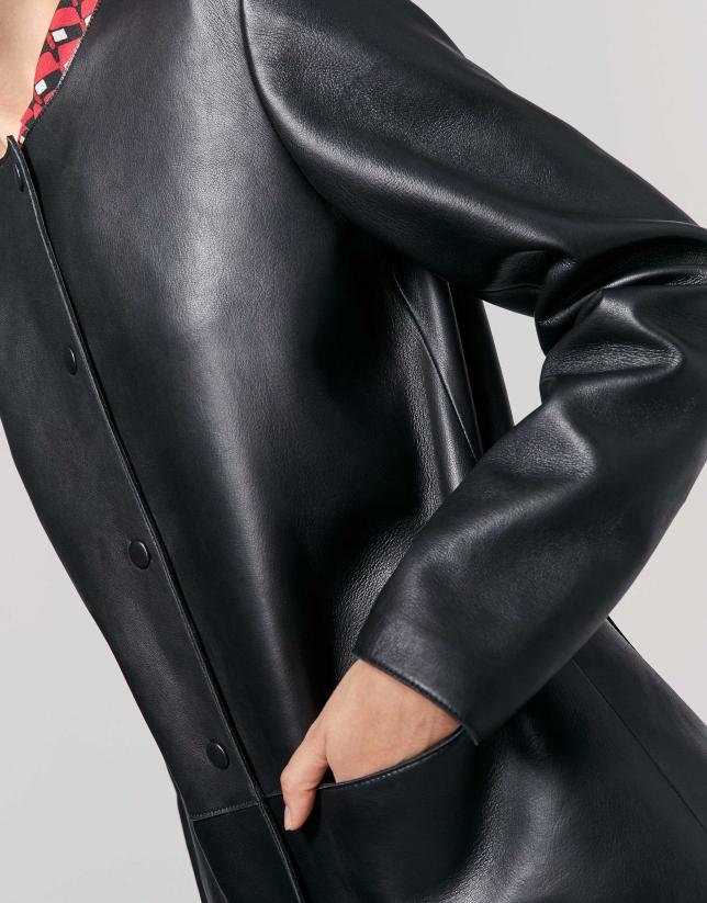 Black, goatskin suede, frock coat