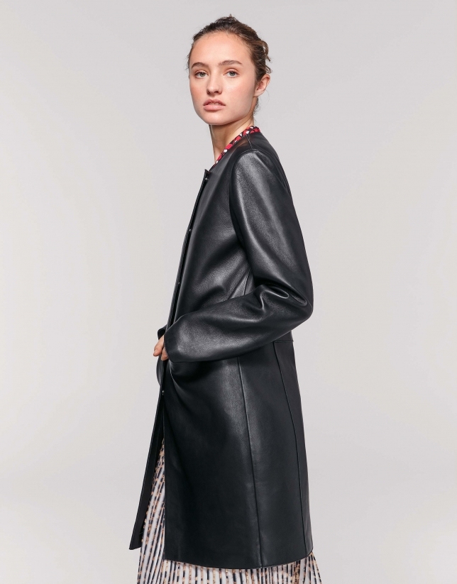 Black leather frock coat
