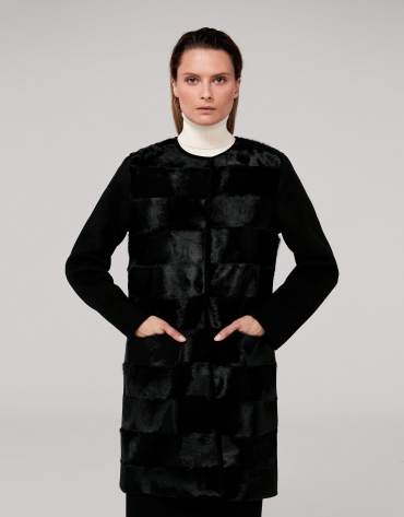 Black wool coat with goatskin front