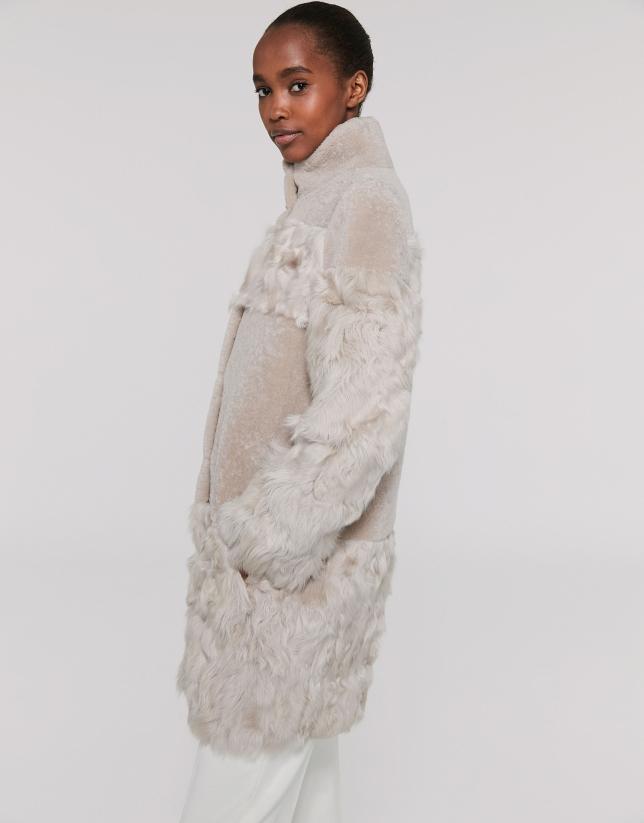 Abrigo pelo de cordero ivory