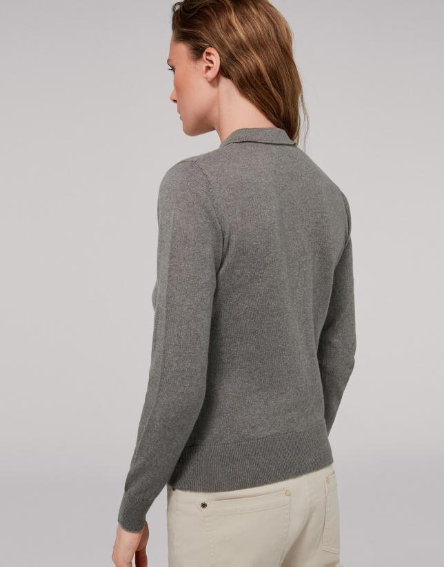 Veste en coton/cachemire gris marengo