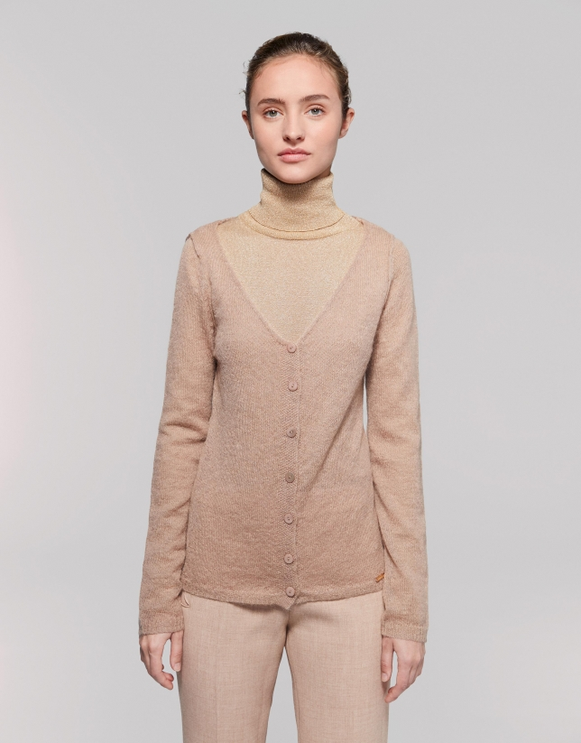 Cardigan laine/mohair encolure en V couleur noisette