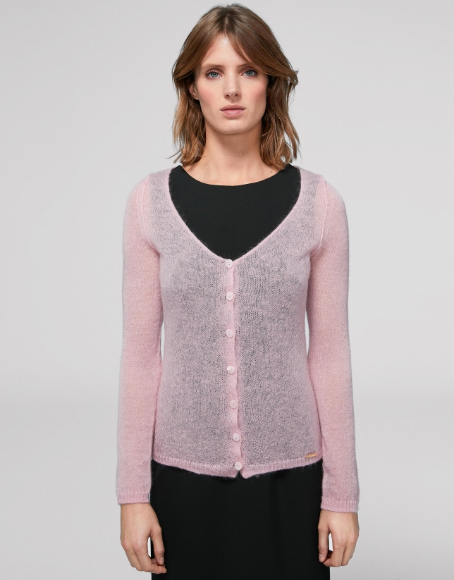 Pink cardigan with V-neck