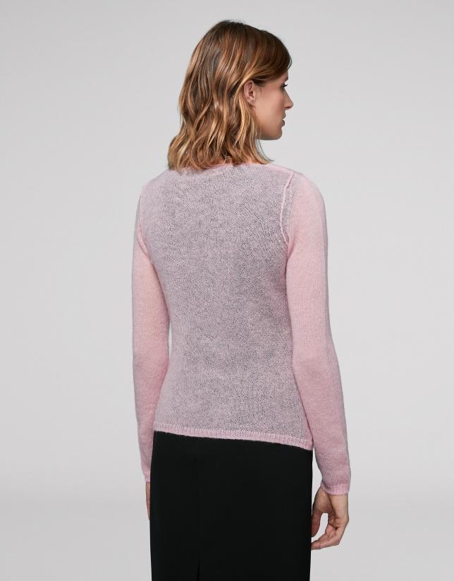 Cárdigan escote pico rosa