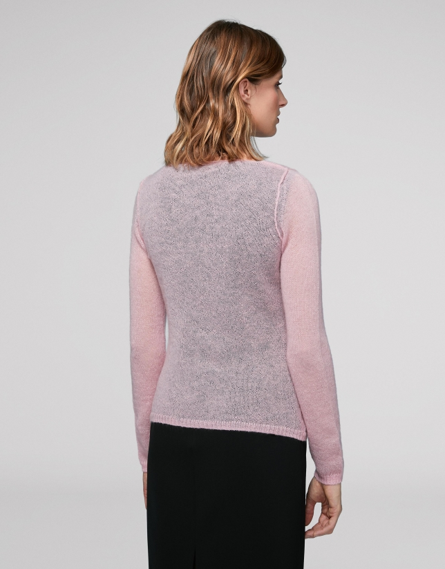 Cardigan laine/mohair encolure en V couleur rose