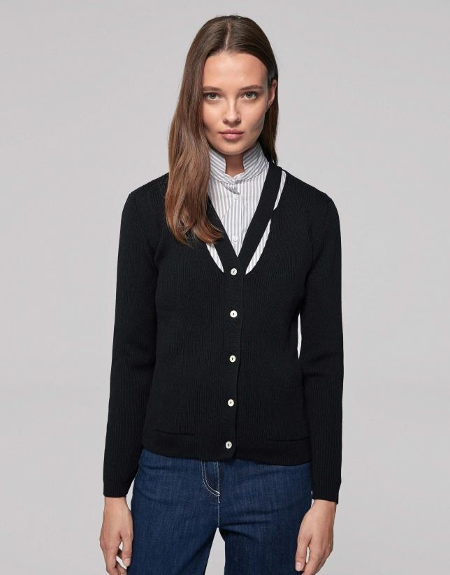 Veste côtelée noire en laine merino