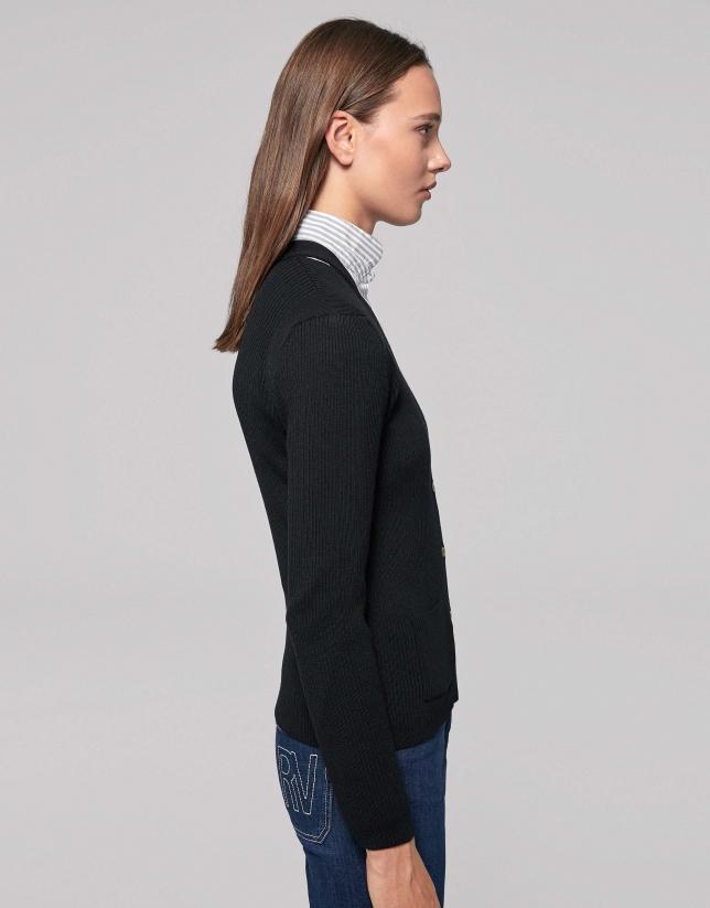 Chaqueta lana merino canalé negra