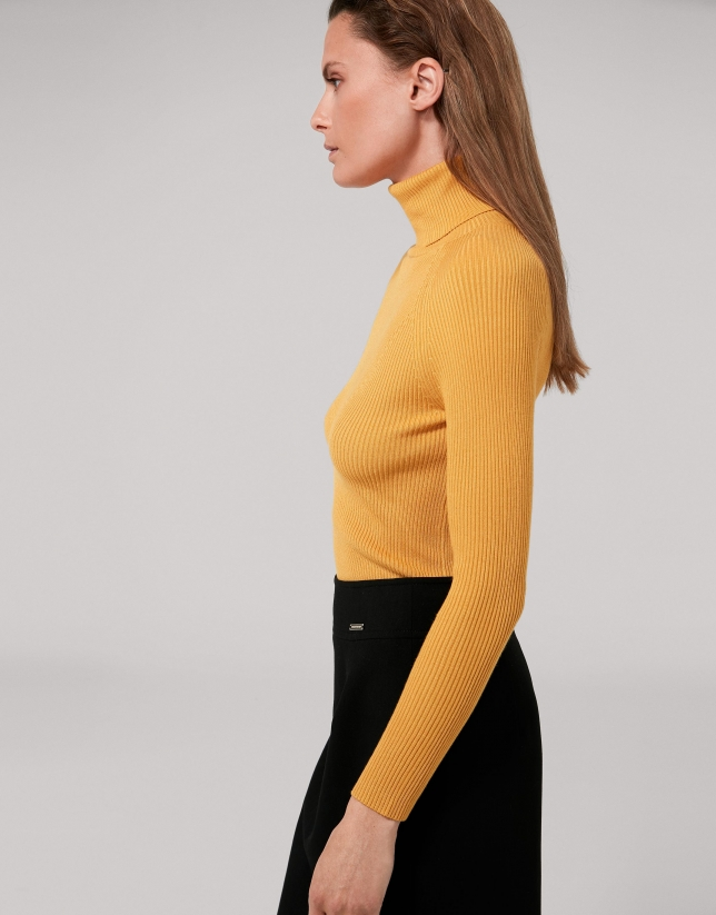 Gold fitted ribbed sweater