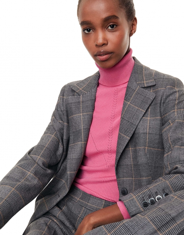 Jersey canalé ajustado rosa