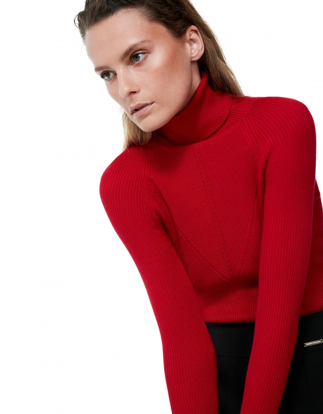 Red poppy fitted ribbed sweater