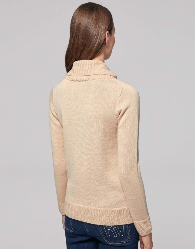 Jersey lana merino cuello vuelto flojo vainilla