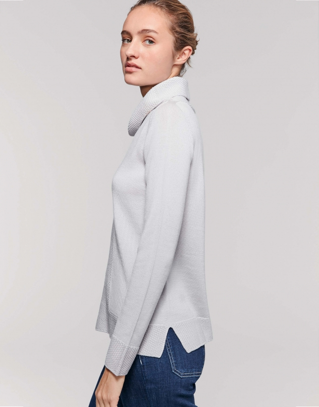 Silver gray wool sweater with turtle-neck collar