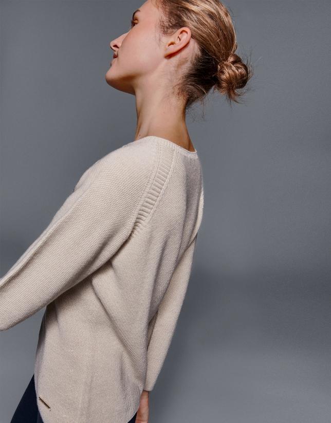 Jersey manga ranglan y cuello redondo ivory
