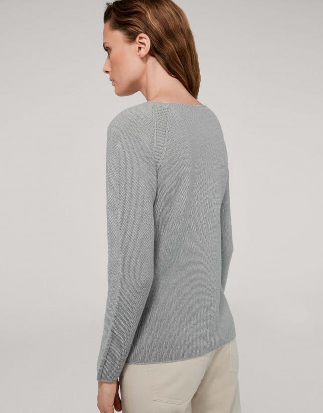 Jersey lana merino gris humo