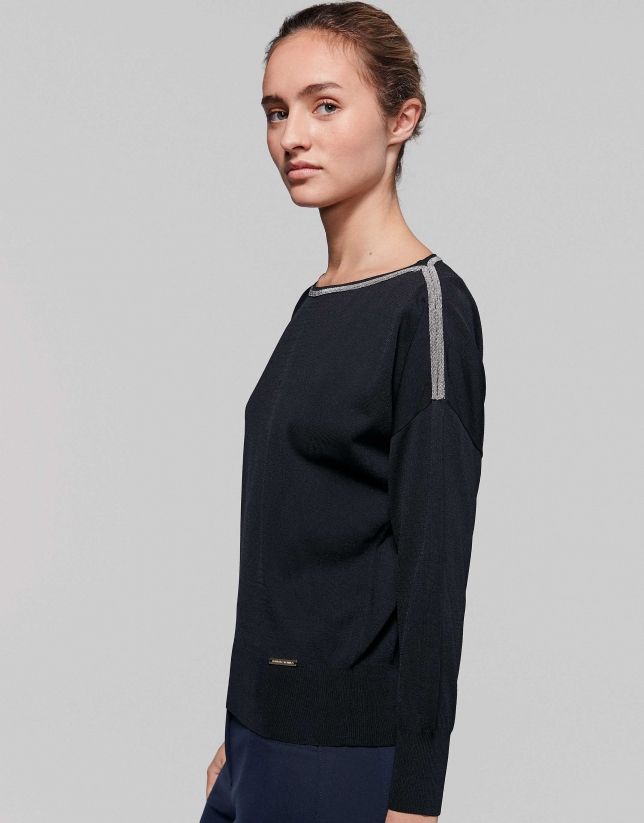 Black sweater with dropped sleeves