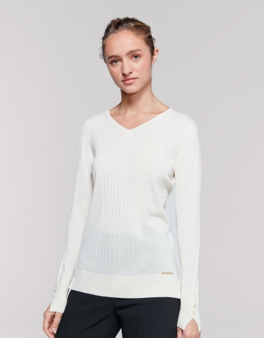 Pull laine col V couleur ivorie