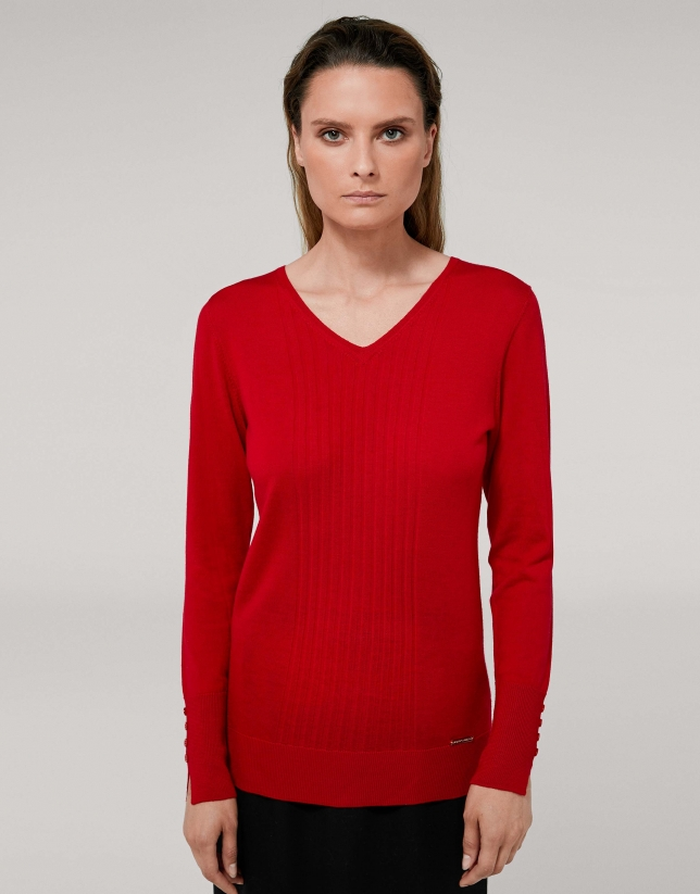 Red poppy wool sweater with V-neck