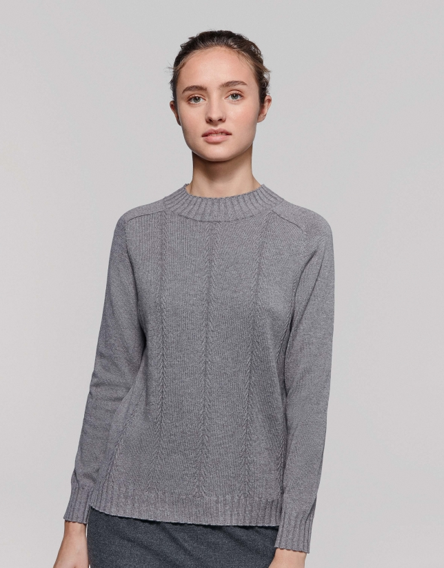 Gray marengo cotton/cashemere sweater with asymmetric hem