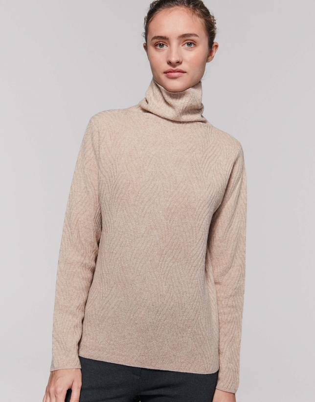 Vanilla wool/cashemre sweater with appliqué