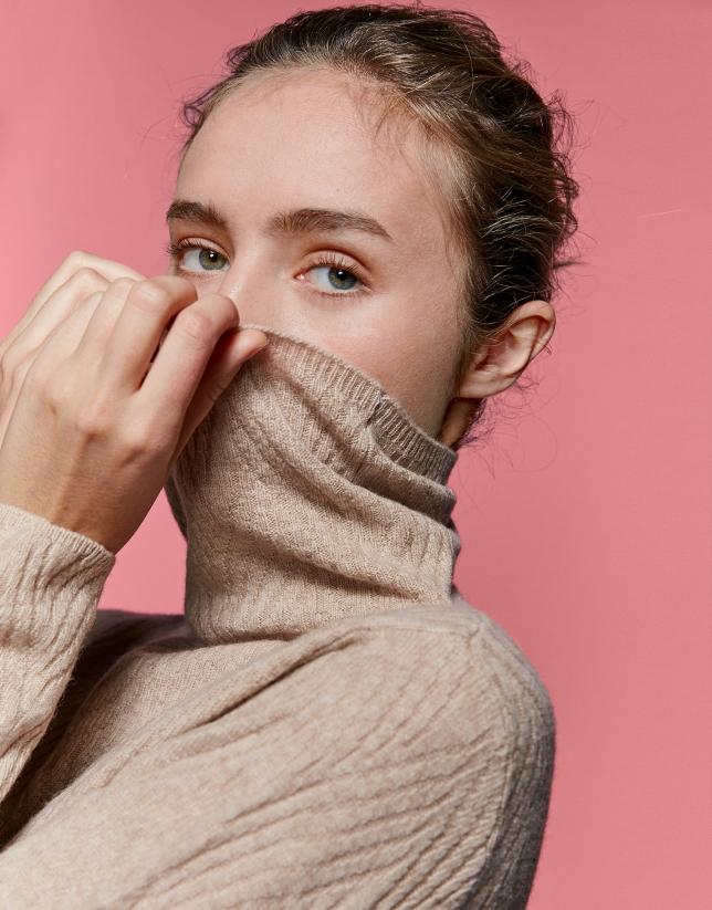 Jersey lana/cachemira fantasía vainilla