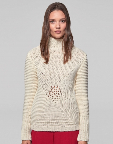 Beige knit sweater with openwork and knotted design