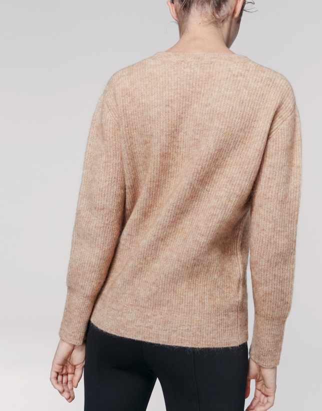 Jersey cuello redondo avellana