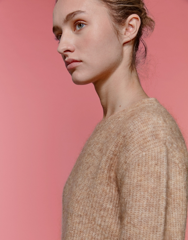 Jersey oversize cuello redondo avellana