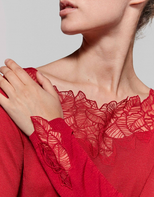 Red dressy sweater with lace