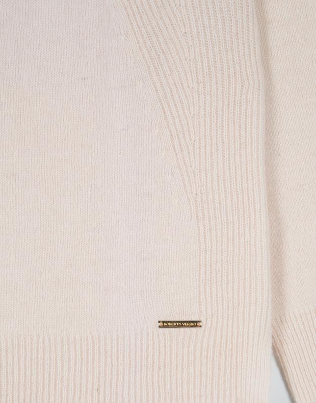 Pull laine épaule côtelée couleur vanille