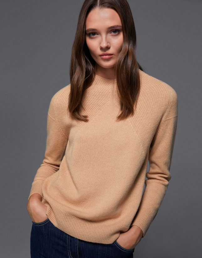 Hazel sweater with ribbed shoulders