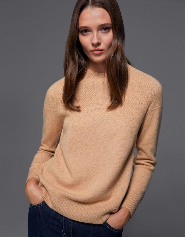 Jersey lana hombro acanalado avellana