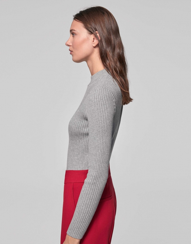 Smokey gray cotton knit sweater