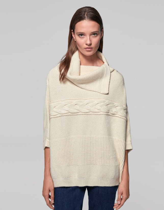 Ivory seed-stitched knit poncho