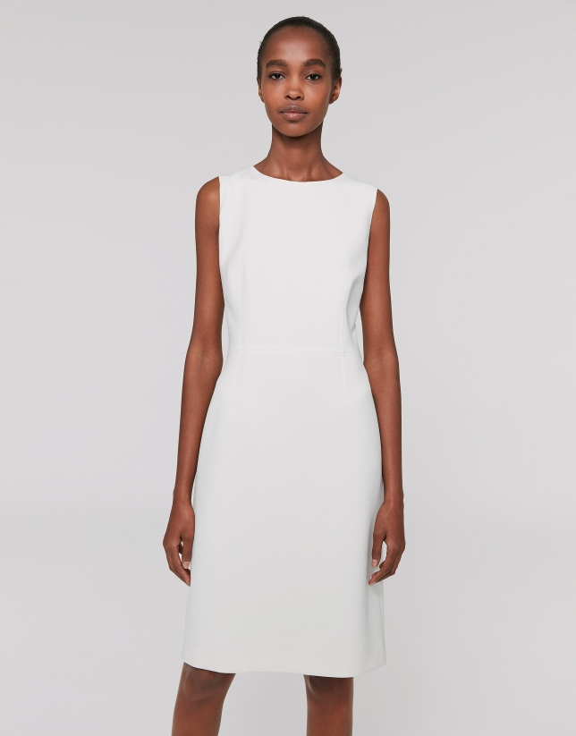 Ivory sleeveless midi dress