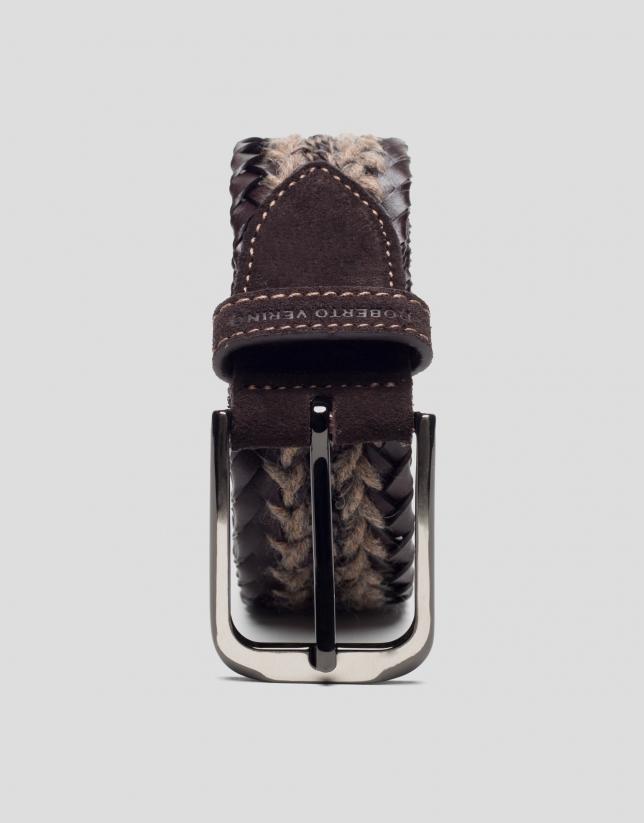 Cinturón trenzado rustico marrón
