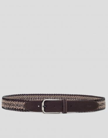 Brown rustic braided belt