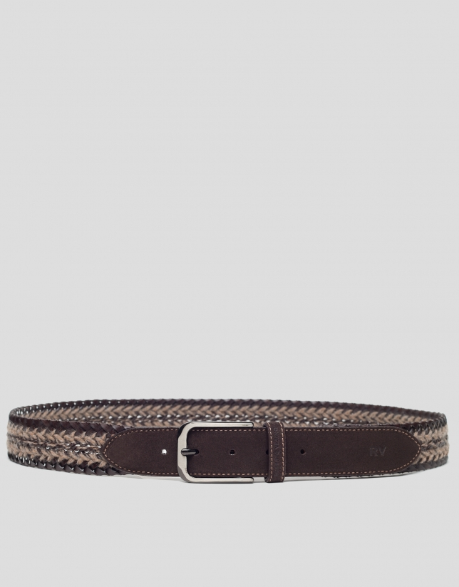 Brown rustic braided belt