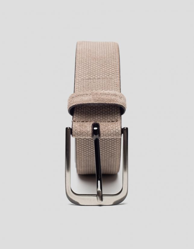 Mink-colored embossed belt