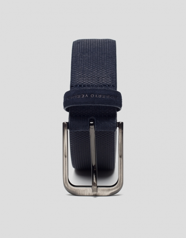 Blue embossed belt