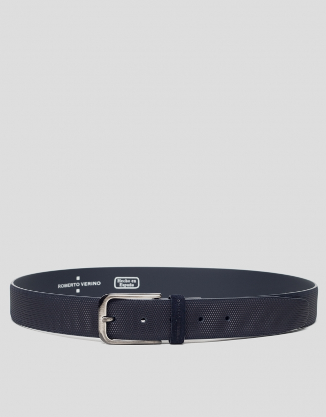 Blue embossed belt
