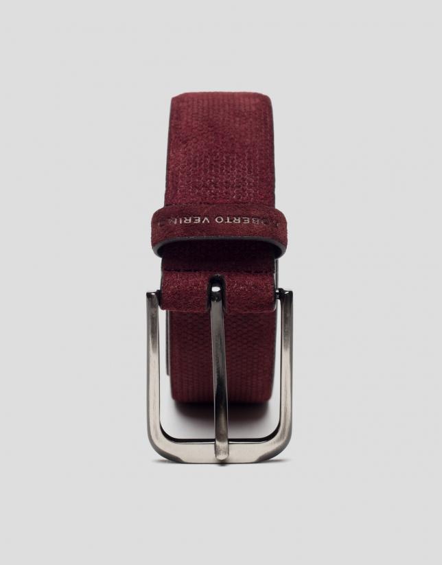 Cinturón grabado granate