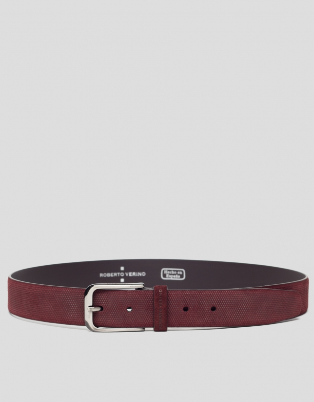 Burgundy embossed belt
