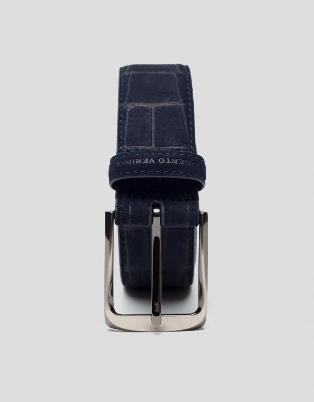 Navy blue alligator embossed split leather belt