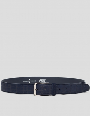 Navy blue alligator embossed split leather belt