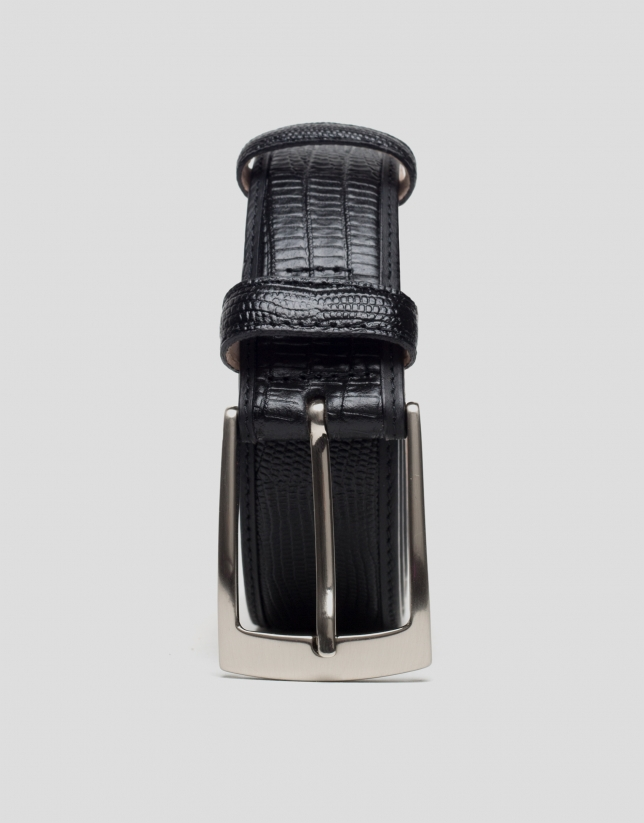 Black snakeskin embossed belt