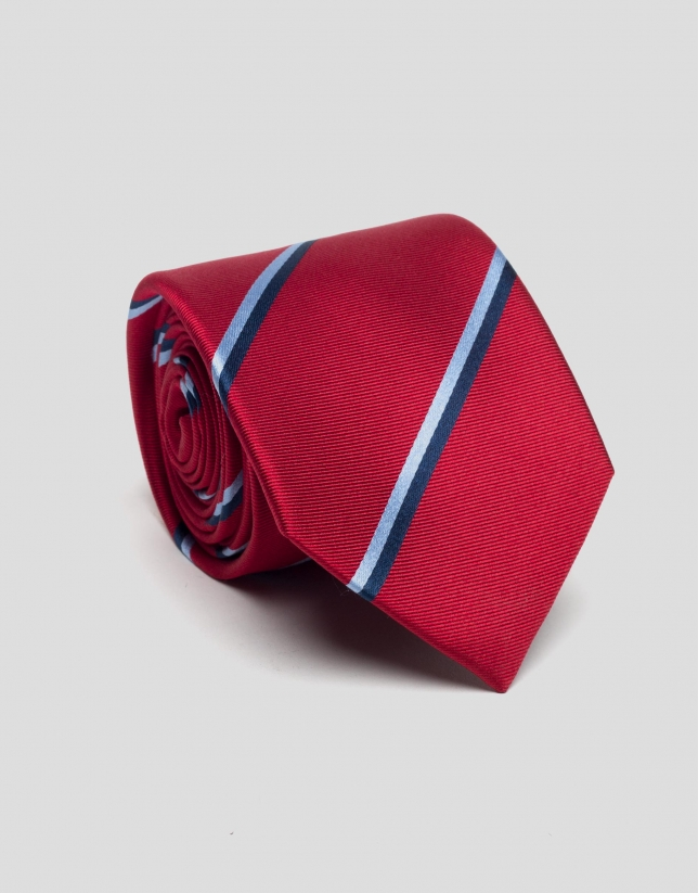 Red silk tie with blue stripes