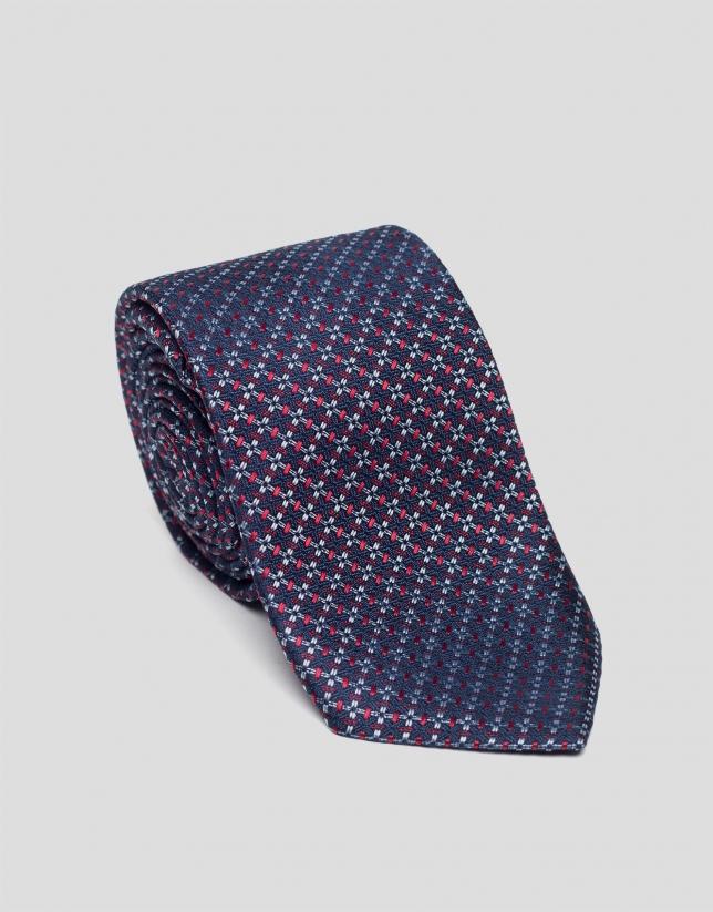 Corbata seda azul con jacquard rojo/celeste