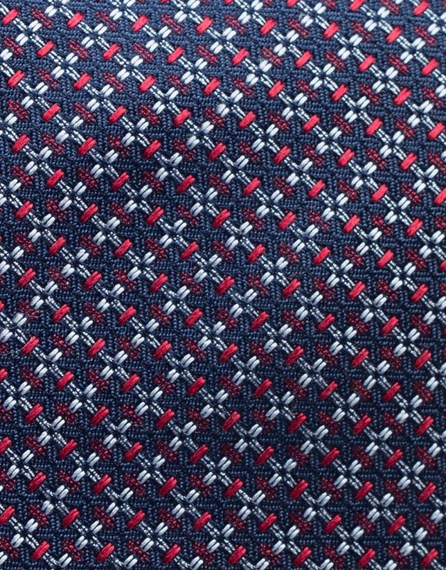 Cravate en soie bleue avec jacquard en rouge/bleu ciel